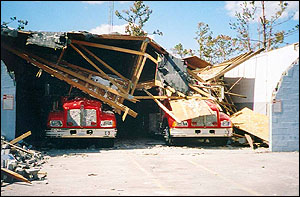 The DeLisle Fire House after Hurricane Katrina / photo from Firehouse.com
