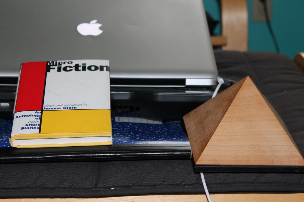 tools of the trade, microfiction, notebook, meditation timer, laptop