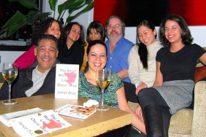 a book club discussing *The Brief Wondrous Life of Oscar Wao* / photo by Paul Lowry