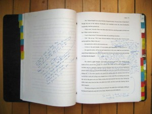 pages from a draft of Laken's novel