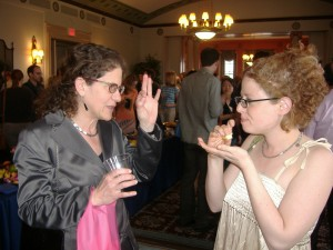 At the 2006 Hopwood Awards reception, Eileen talks writing with former student Jenni Ferrari-Adler